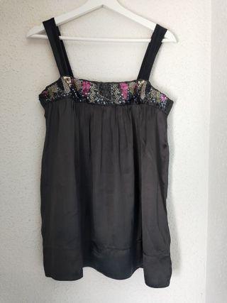 camisa tirantes Zara fiesta negra con piedras m