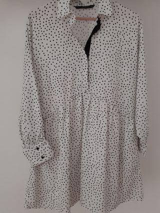 Vestido Zara topos blanco y negro