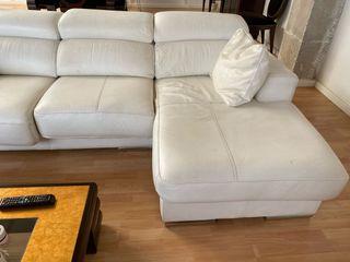 Sofa chaise longue cuero