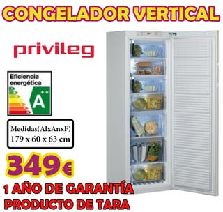 Congelador vertical Privileg A++ 179x60 cm