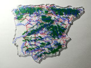 Mapa de España con cordilleras y ríos. EGB