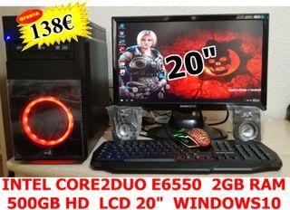 """PC INTEL C2D E6550 2GB 500HD LCDE20"""" T+R+A"""