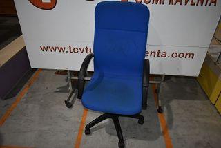 Silla azul oficina altura fija con reposabrazos