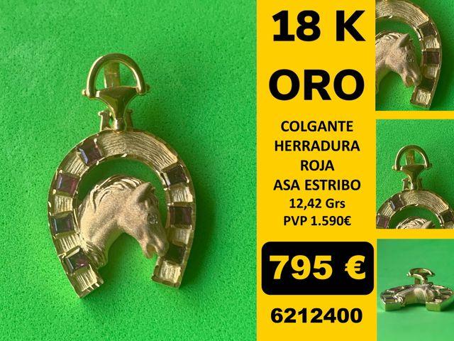 18K Colgante Herradura asa Estribo Oro 18 Kilates