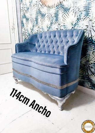 Sofa Capitone Luis XV 114cm Ancho Terciopelo Azul