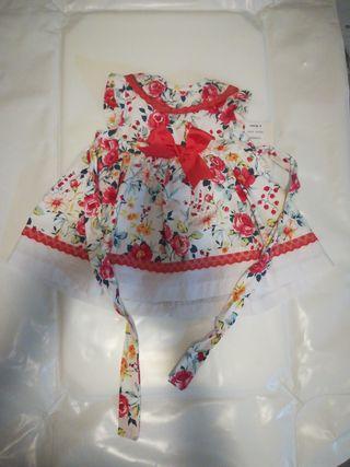 vestido bebé, de flores, 6 meses