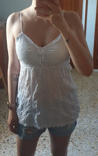 Camiseta blanca boho T-M/L