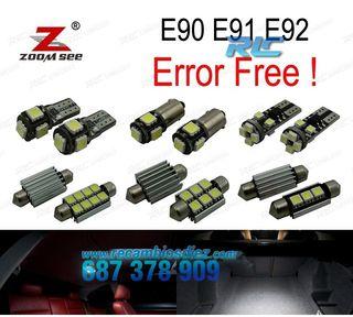 KIT COMPLETO DE 9 BOMBILLAS LED INTERIOR BMW E90 E