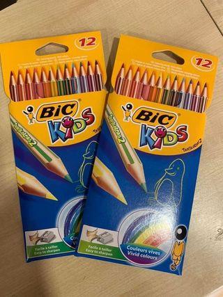 DOS CAJAS BIC KIDS 12 Colores