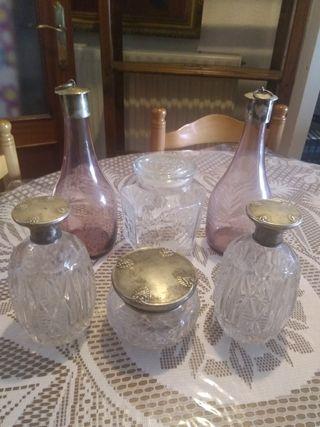 precioso lote de botellas bomboneras ECT antiguo