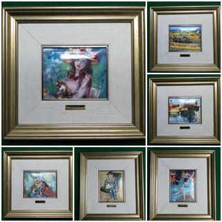 Colección de 6 cuadros esmaltados al fuego, con pi
