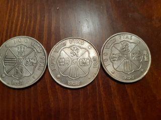 3 monedas de 100 pesetas de 1966