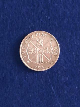 Moneda de 100 pesetas estrella de 1966