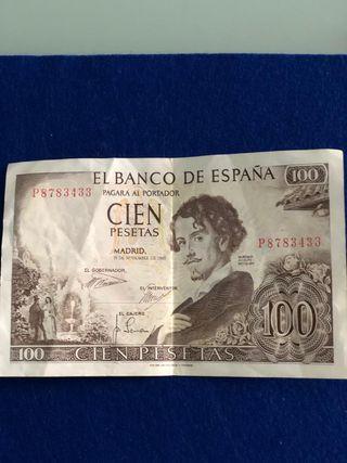 Billete de 100 pesetas de 1965