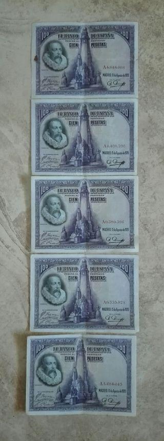 5 billetes de 100 pesetas 1928