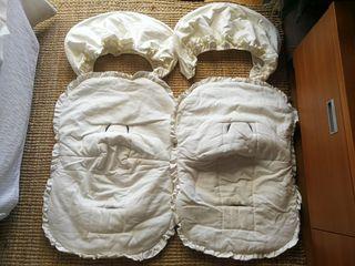 2 sacos grupos 0,piqué, color hueso con capota
