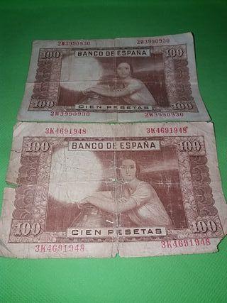 2 billetes de 100 pesetas. 7 de abril de 1953