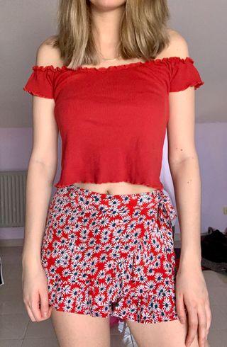 Shorts flores/ falda pantalón