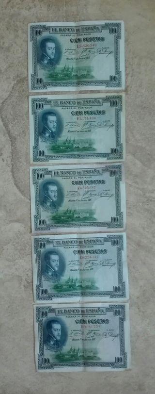 5 billetes 100 pesetas 1925