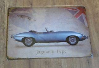 Cartel decoración Jaguar E-Type descapotable.