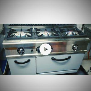 cocina industrial tres fuegos cómo horno