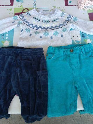 2 pantalones+ jersey invierno 12-18 meses