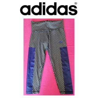 XS 34 Leggings Adidas originales 3/4 negros morado