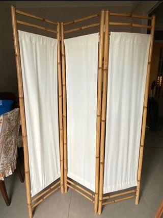 Biombo bambú y tela