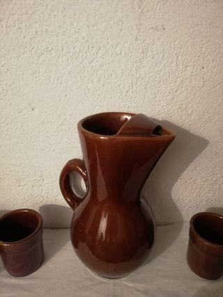 jarra de barro y 6 vasos