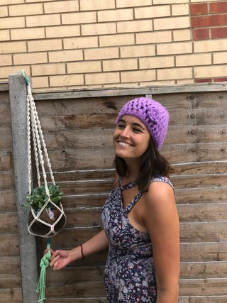 Lilac knitted hat