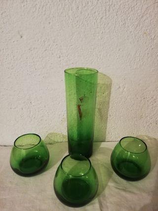 lote de vasos vintage verdes