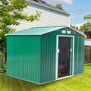 Caseta de Jardín tipo Cobertizo Metálico Verde par