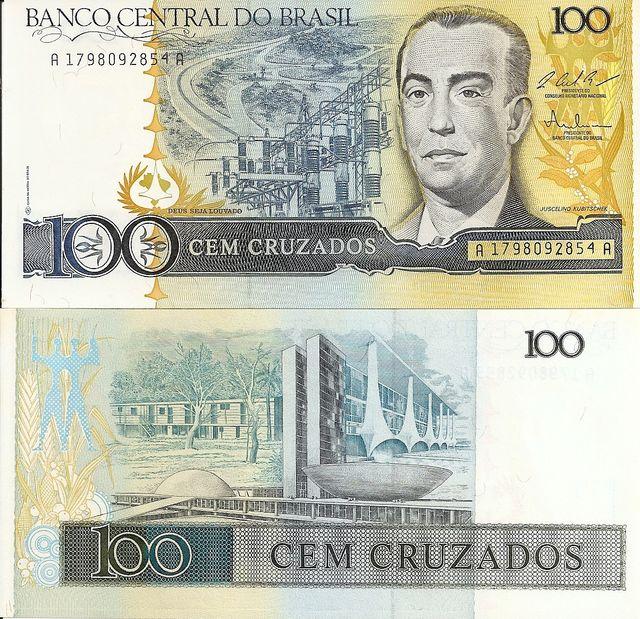 BRASIL BILLETE 100 CRUZEIROS 1987 P 211