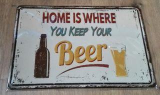 Cartel decoración hogar y cerveza.
