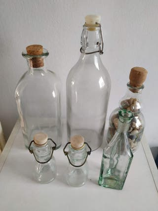 Lote de 6 botellas decorativas