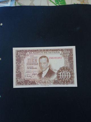 billete de 100 pesetas de 1953
