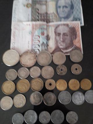 billetes y monedas de pesetas
