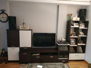 Mueble modular salón en wengue y blanco