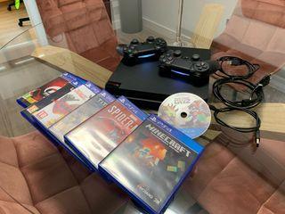 PS4 SLIM 1 Tb + 7 JUEGOS + 2 MANDOS ORIGI + CABLEA