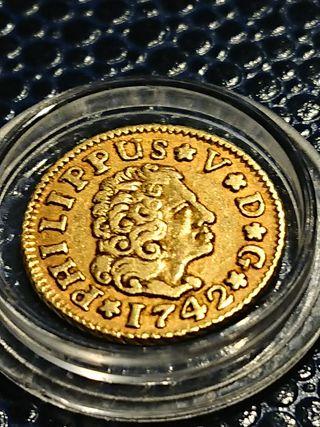 Moneda de oro de Felipe 5 medio escudo de 1742