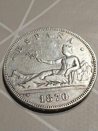 Moneda de 5 pesetas de 1870 de plata