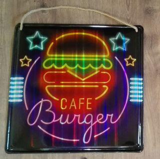 Cartel decoración luminoso. Café Burger