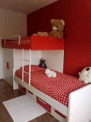 dormitorio completo litera tren y escritorio