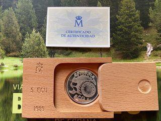 Monedas 5 ECU Plata. 1989 - Carlos V