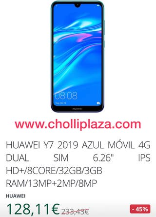 """Huawei Y7 2019 azul dual sim 4G 6.26"""""""