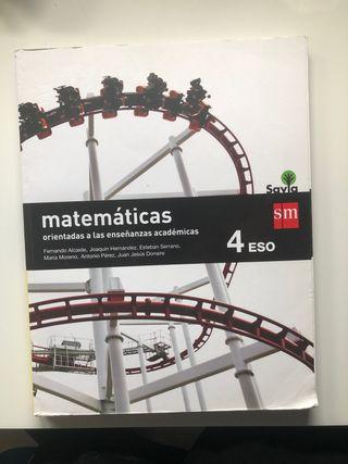 Libro matemáticas enseñanzas academicas 4eso savia