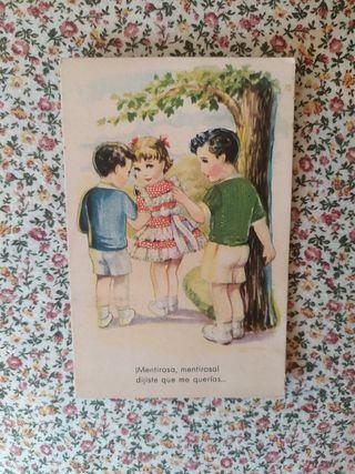 antigua postal infantil a color