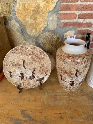 Jarrón plato decorativo juego panda y Rosenxthal