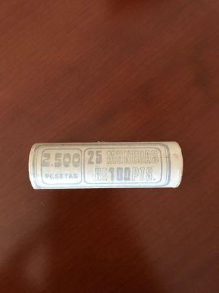 Cartucho de 25 monedas de 100 pesetas 1985