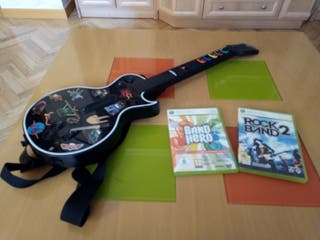 Guitarra xbox 360 y 2 juegos